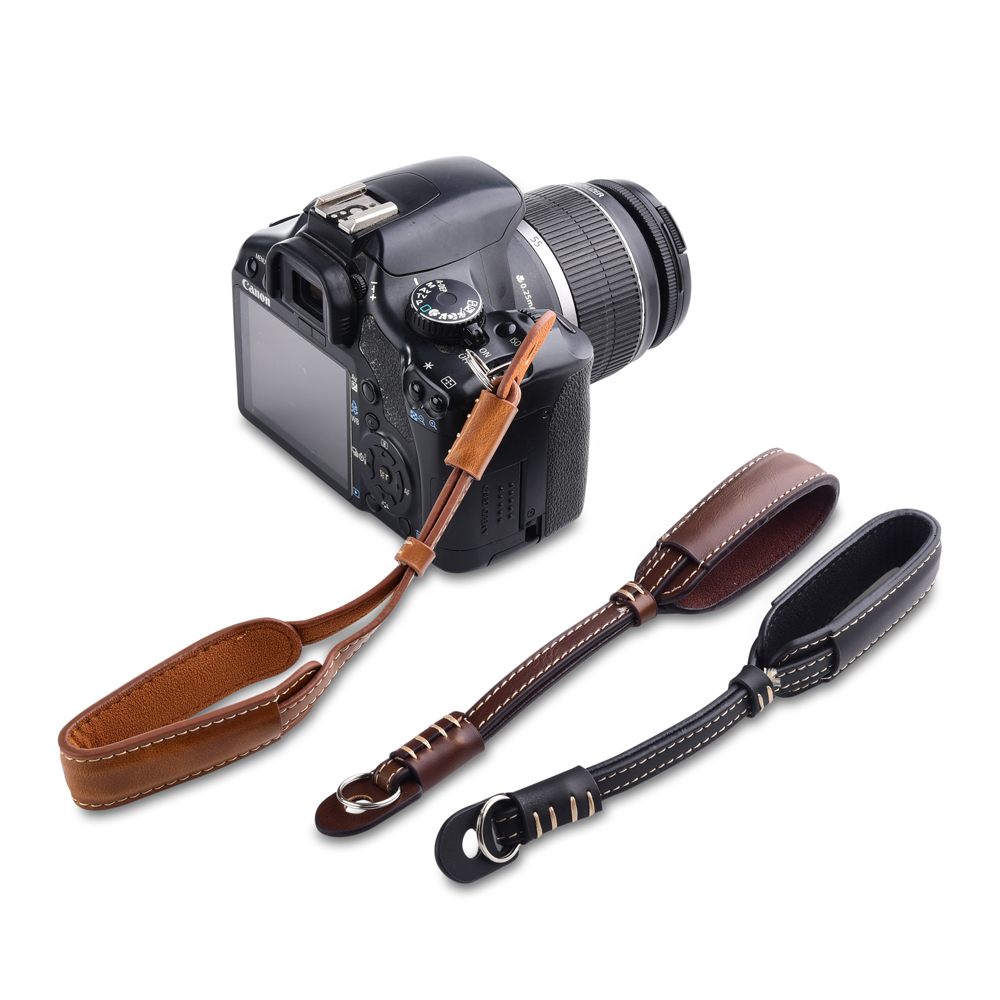Camera PU Leather Hand Strap Grip Durable Metal Ring Wrist Strap For Dslr Camera Brown/Coffee/Black