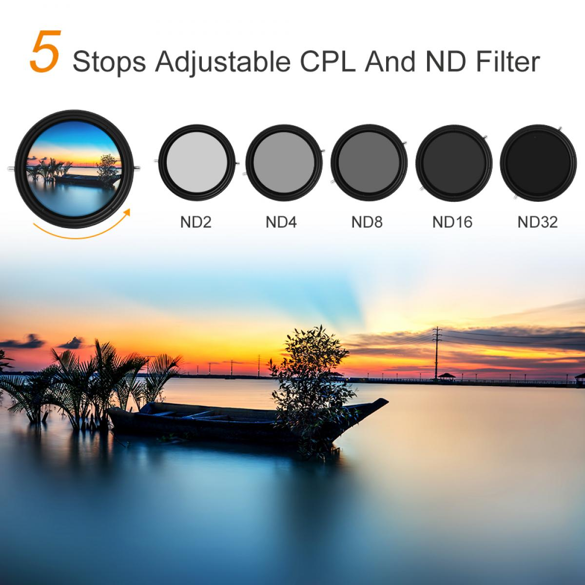 K&F Concept 82mm Variable Fader ND2-ND32 ND Filter and CPL Circular Polarizing Filter 2 in 1