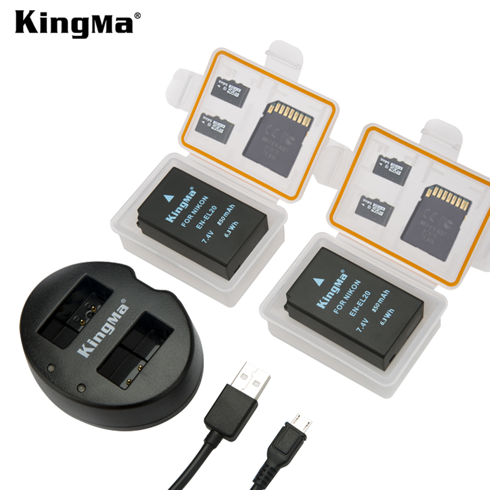 KingMa EN-EL20 850mAh Battery Pack and Dual USB Charger for Nikon Coolpix A 1 J1 J2 J3 AW1 S1 V3 Camera
