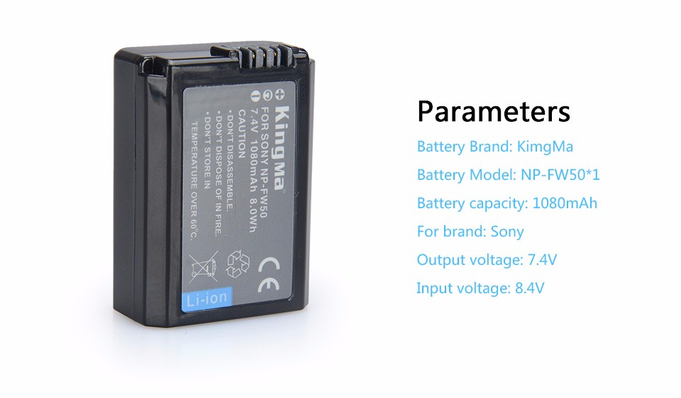 KINGMA BM015-FW50 Battery For Sony A6500 A6300 NEX-5C NEX-3