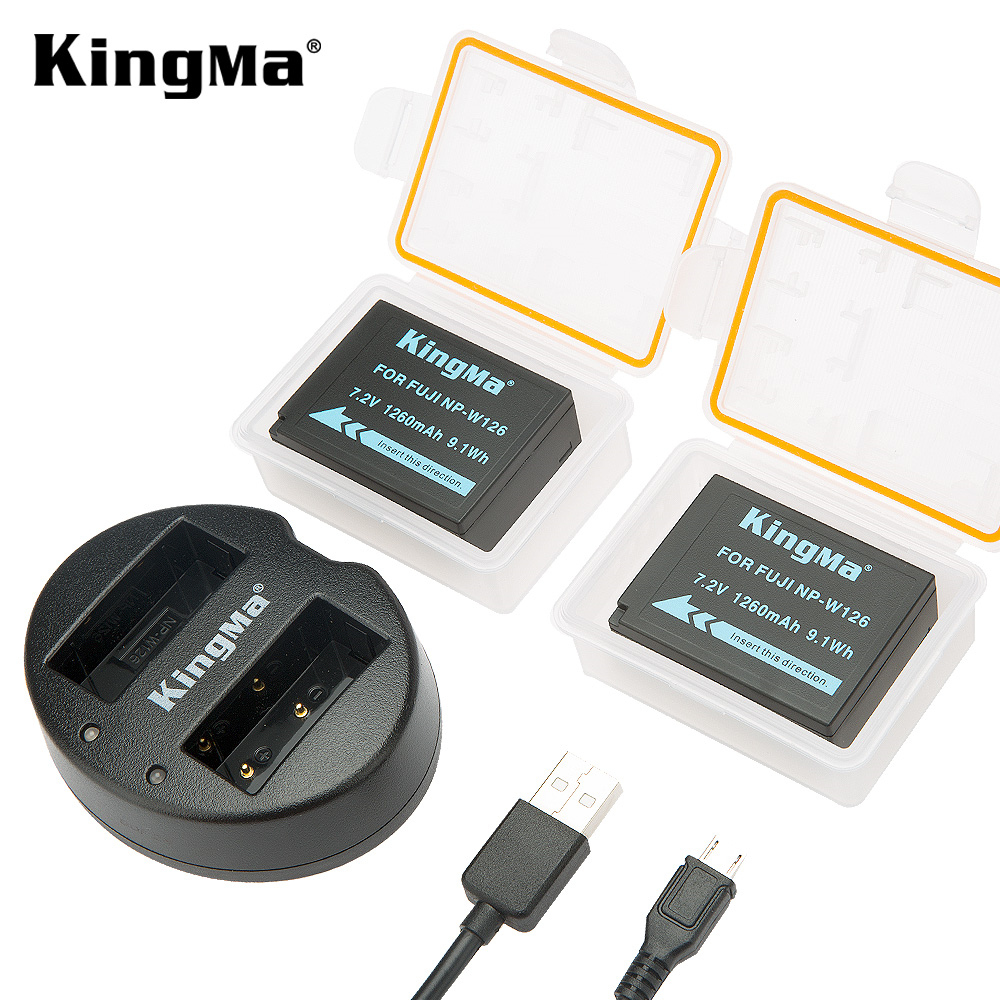 Kingma NP-W126 Battery (2 Pack) and Dual USB Charger Kit for Fujifilm X100F X-T20 X-Pro1 X-Pro2 HS30EXR