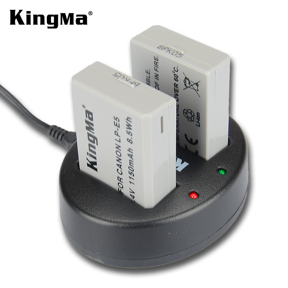 KingMa LP-E5 Battery (2 Pack) and Dual USB Charger Kit for Canon EOS 450D 500D 1000D