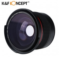 K&F CONCEPT 58mm Fisheye Lens 0.35X HD Wide Angle with Macro Close Up